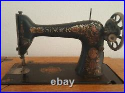 Antique 1910 Singer Sewing Machine with Oak Treadle Cabinet