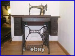 Antique Singer Sewing Machine And Table Egyptian Revival Sphinx Vintage