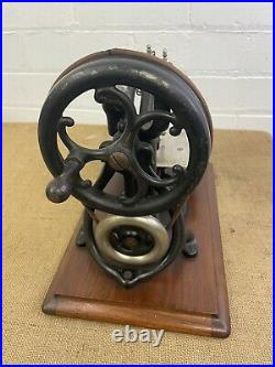 Antique Willcox and Gibbs Hand Cranked American Sewing Machine on Wooden Base