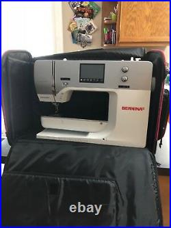 Bernina 750 QE sewing machine with embroidery attachment and carry bags