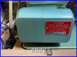 Husqvarna Viking Combina Sewing Machine Type 49E Sweden Case Vintage Works Used