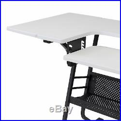 NEW White Sewing Machine Craft Table Folding Computer Desk Storage Shelves Art