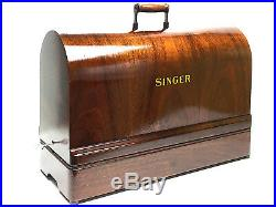 Restored SINGER Sewing Machine Bentwood Carrying Wooden Case Full Size 201 15 66