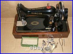 STUNNING VINTAGE SINGER MODEL 99k HAND CRANK SEWING MACHINE WITH BENTWOOD CASE