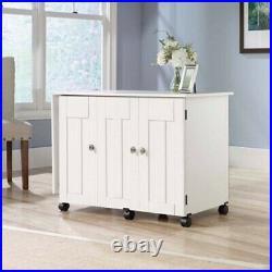 Sewing Machine Table Cabinet Craft Storage Desk Rolling Drop Leaf Bins White