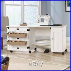 Sewing Machine Table Cabinet Desk Craft Storage Bins Dresser Drop Leaf White