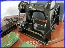 Vintage 1950 Singer Featherweight 221-1 Sewing Machine With Case & Attachments