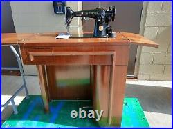 Vintage 201-2 Singer Sewing Machine in Art Deco Desk, working condition