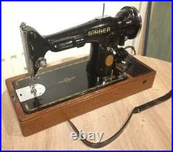 Vintage Electric Singer 201K-2 Sewing Machine with Potted Motor