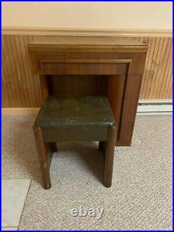 Vintage Electric Singer Sewing Machine 201k Art Deco Walnut cabinet withbench
