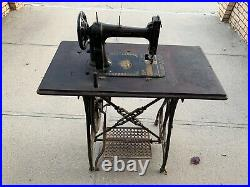 Vintage Sewing Machine White With Cast Iron Base