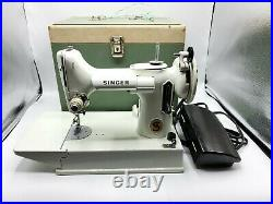 Vintage Singer Featherweight White 221K Sewing Machine with Case