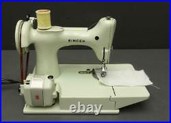 Vtg white Singer Featherweight 221K Sewing Machine with Attachments & Carry Case