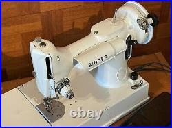 White Singer 221 Featherweight Sewing Machine 1964 with mint green case